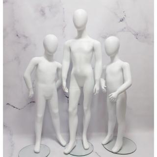 Манекен детский в полный рост безликий белый матовый, 120 см (103-01-07)