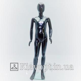 Манекен подростковый черный глянцевый для магазина одежды, 140 см (103-01-99)