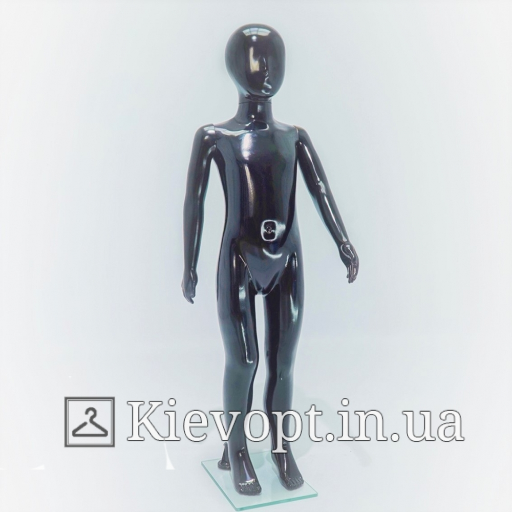 Манекен детский черный глянцевый для магазина одежды, 110 см (103-01-98)