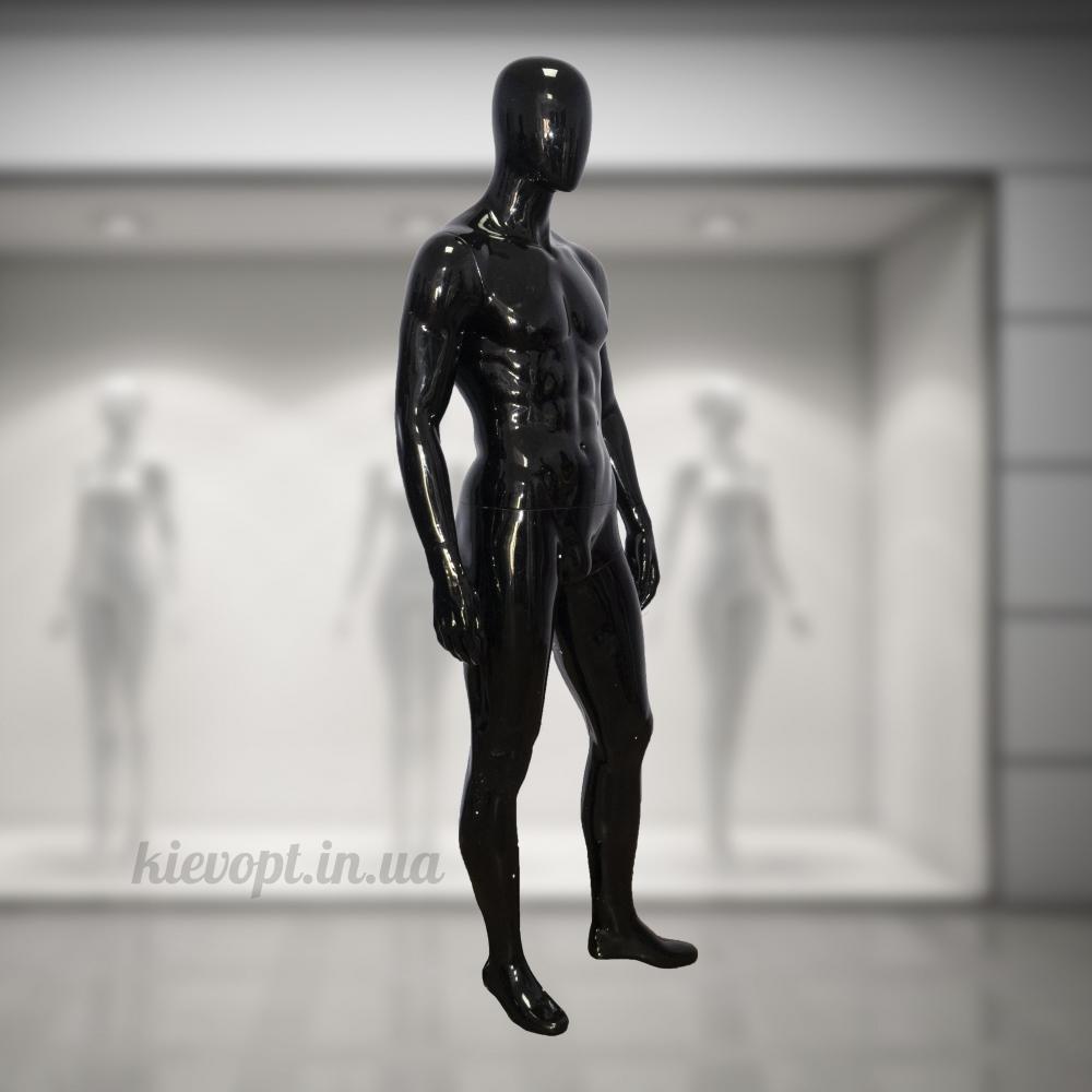 Манекен мужской глянцевый гипсовый черный/белый (102-01-08)