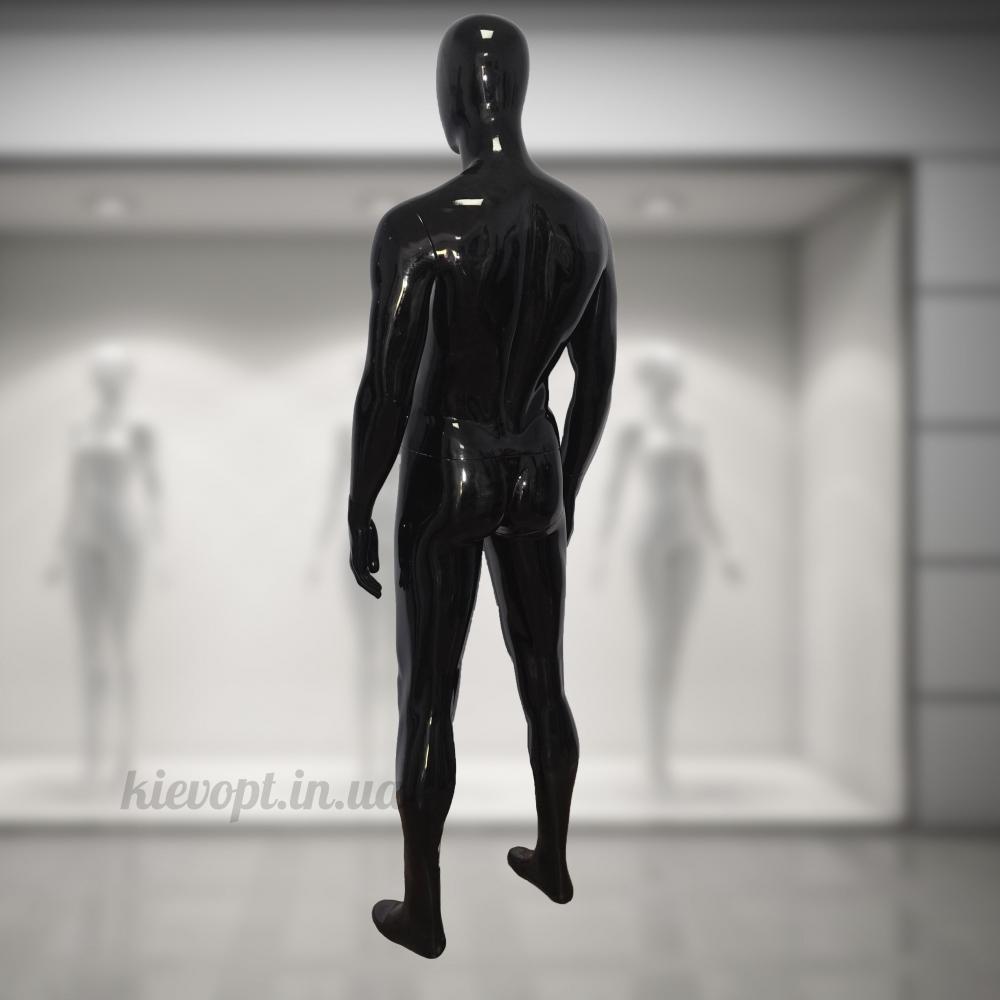 Манекен мужской глянцевый гипсовый черный (102-01-04)