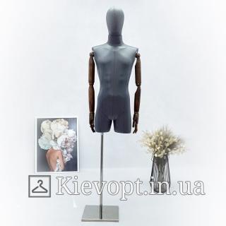 Манекен мужской с деревянными руками  серый эко-кожа (102-09-07)