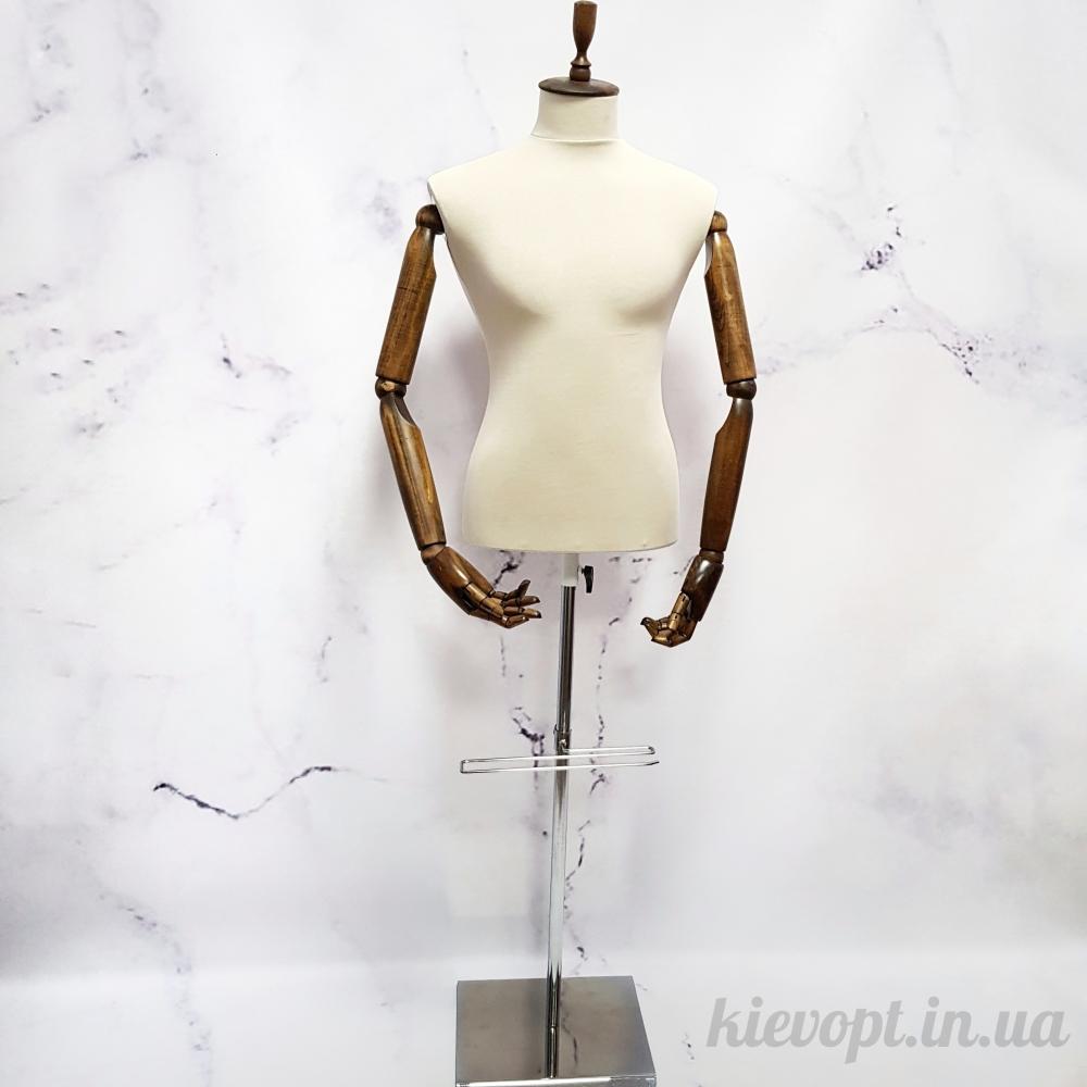 Манекен мужской с деревянными гибкими руками полуторс (102-09-06)