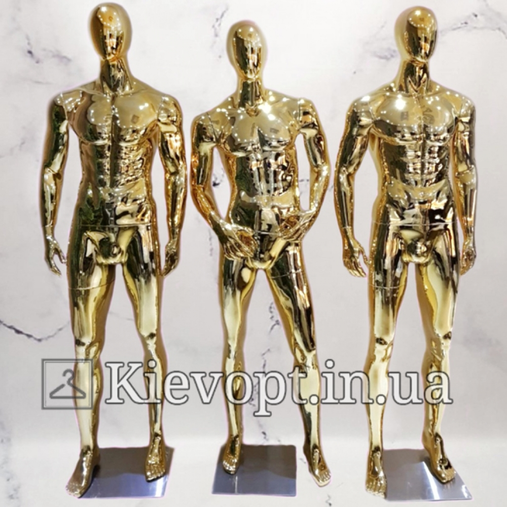 Манекен мужской для магазина одежды золотой руки на талии (102-04-04)