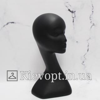 Манекен голова для шапок женская черная (106-01-03)