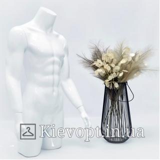 Манекен торс мужской белый для магазина одежды (104-01-13)