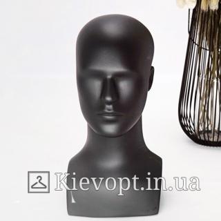 Манекен голова мужская для шапок черная (106-01-09)