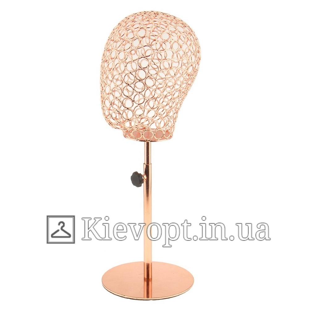 Манекен голова женская для шапок, платков, париков золотая  (106-01-10)