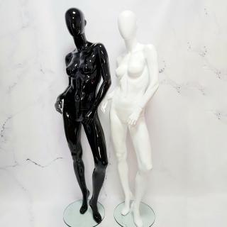 Манекен женский с полный рост лакированный черный/белый ЛЮКС (101-01-39)