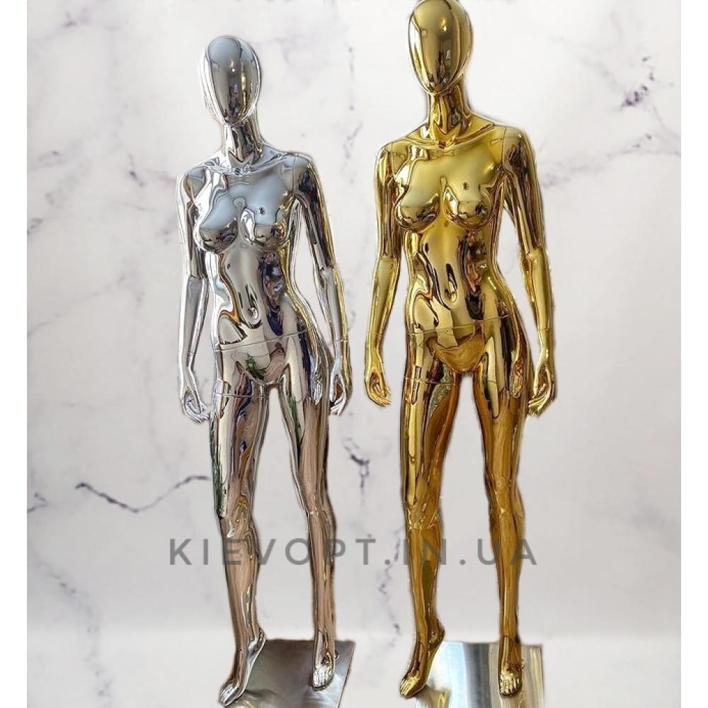 Манекен женский безликий хромированный золото/серебро (101-04-27)