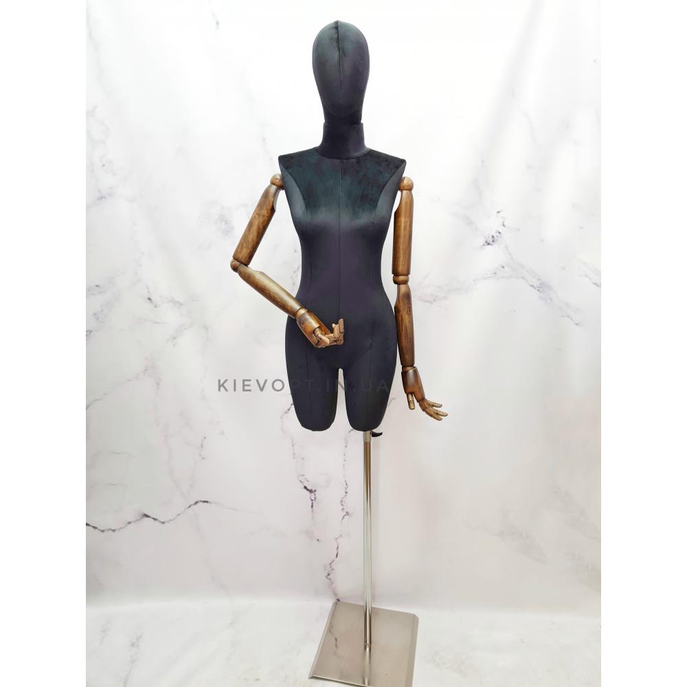 Манекен женский с деревянными руками на шарнирах велюровый (101-09-16)