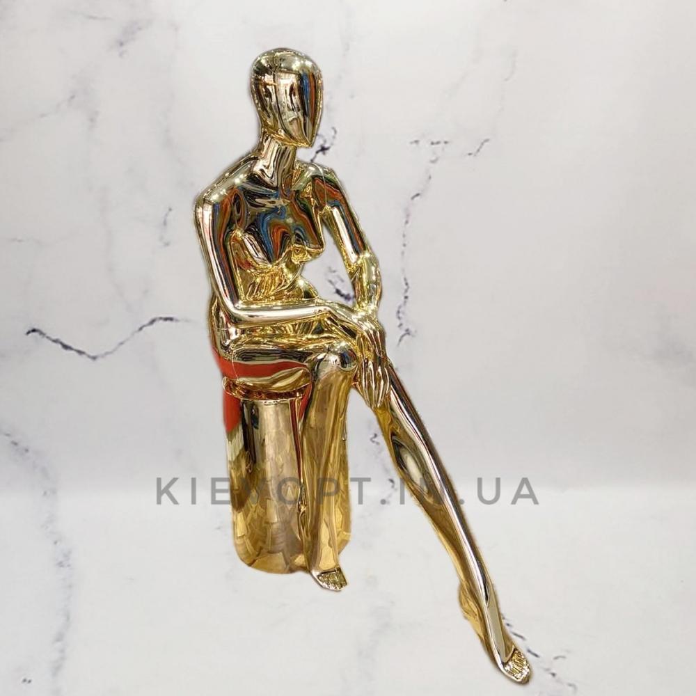 Манекен женский безликий хромированный сидячий золото/серебро (101-04-28)