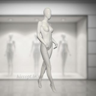 Манекен женский гипсовый лакированный белый/черный (101-01-45)