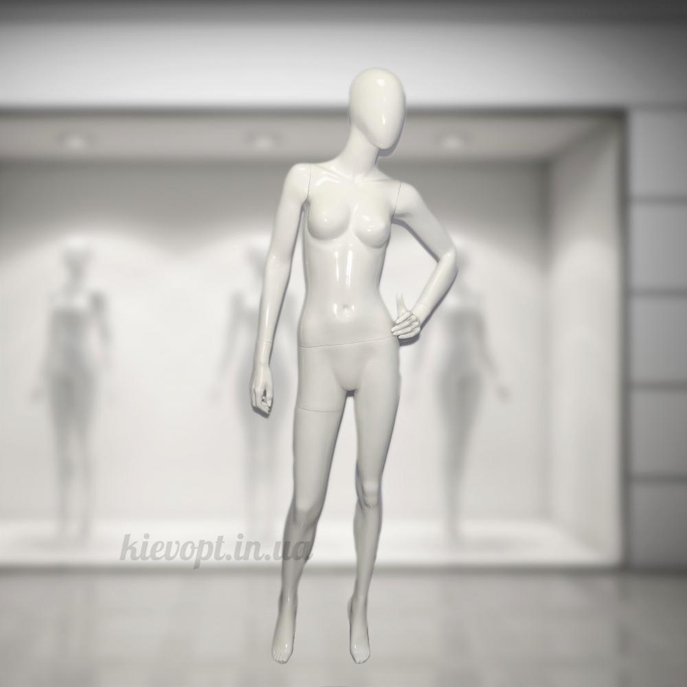 Манекен женский глянцевый гипсовый белый/черный (101-01-28)