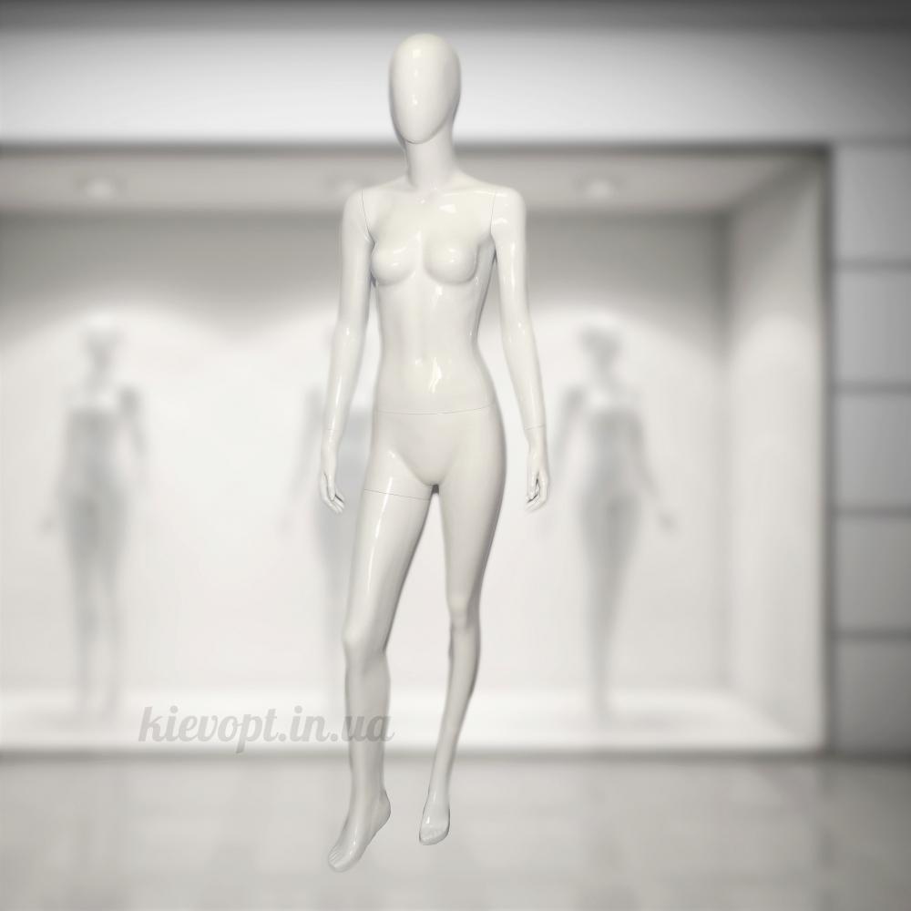 Манекен женский лакированный белый/черный (101-01-49)