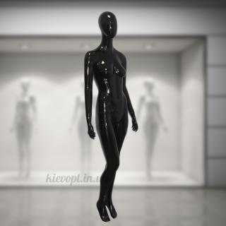 Манекен женский глянцевый безликий черный/белый (101-01-02)