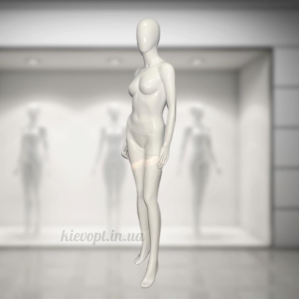 Манекен женский глянцевый белый/черный (101-01-48)