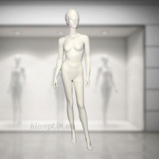 Манекен женский с челкой глянцевый белый/черный (101-06-08)