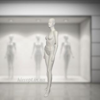 Манекен женский глянцевый гипсовый с чертами лица белый/черный (101-06-04)