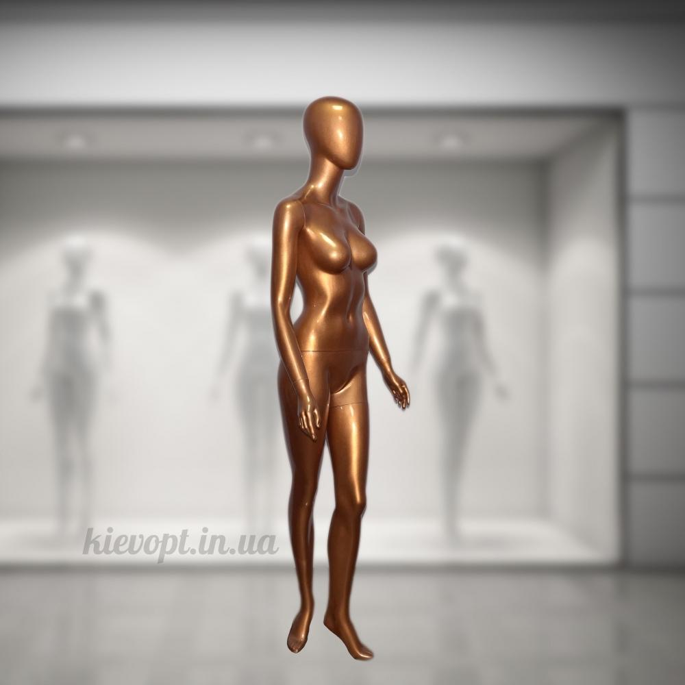 Манекен женский золотой в полный рост безликий (101-05-06)