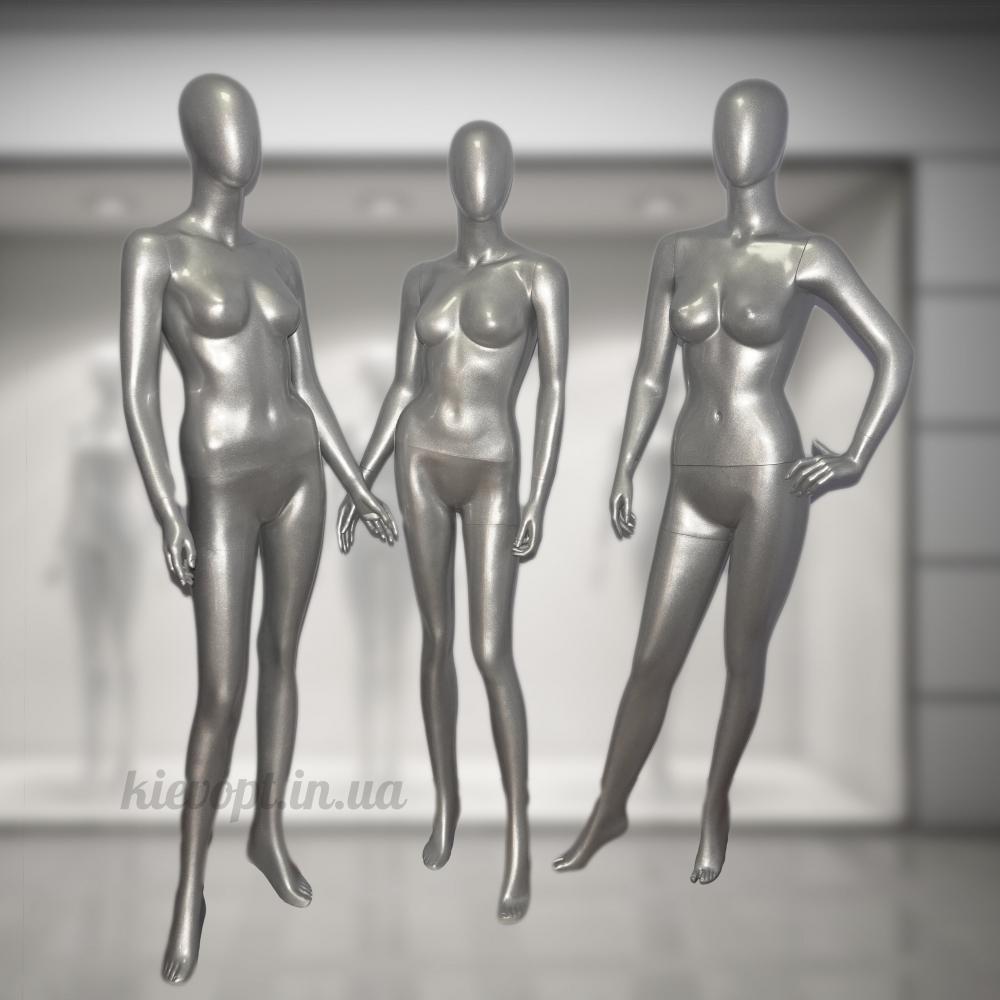 Манекен женский гипсовый в полный рост серебрянный (101-05-02)