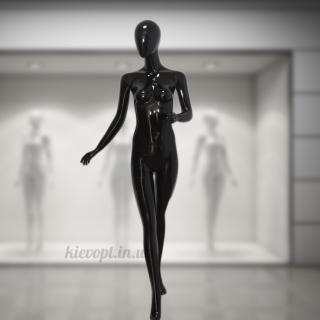 Манекен женский безликий полноростовой черный (101-01-06)
