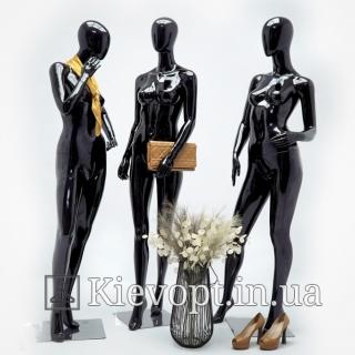 Манекен женский безликий гипсовый черный (101-01-08)
