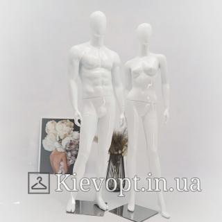 Манекен женский глянцевый белый/черный (101-01-66)