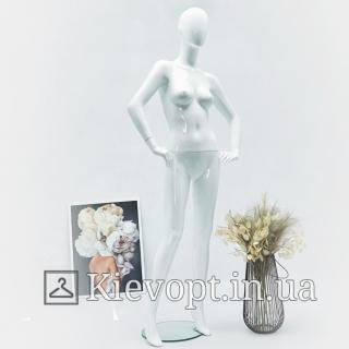 Манекен женский глянцевый белый для одежды (101-01-62)