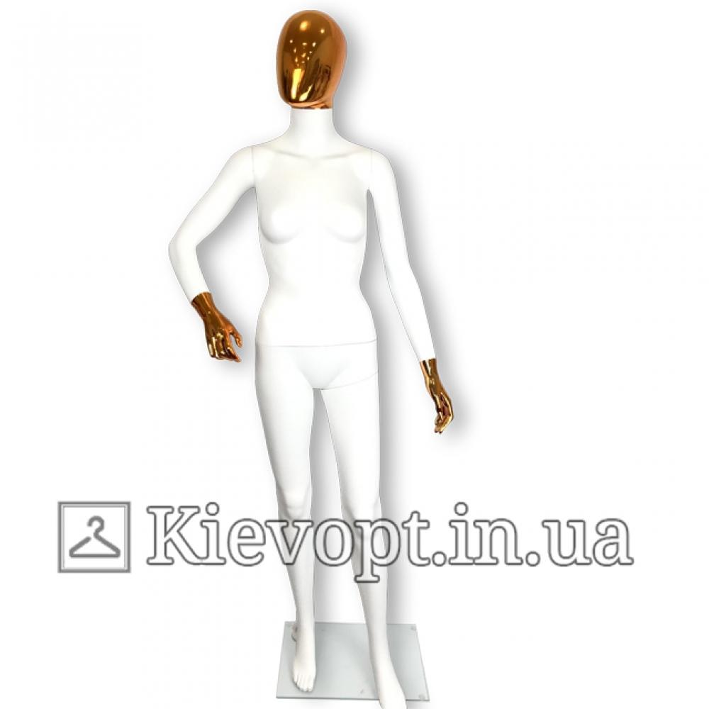 Манекен женский белый с золотой маской и согнутой рукой (101-01-12)