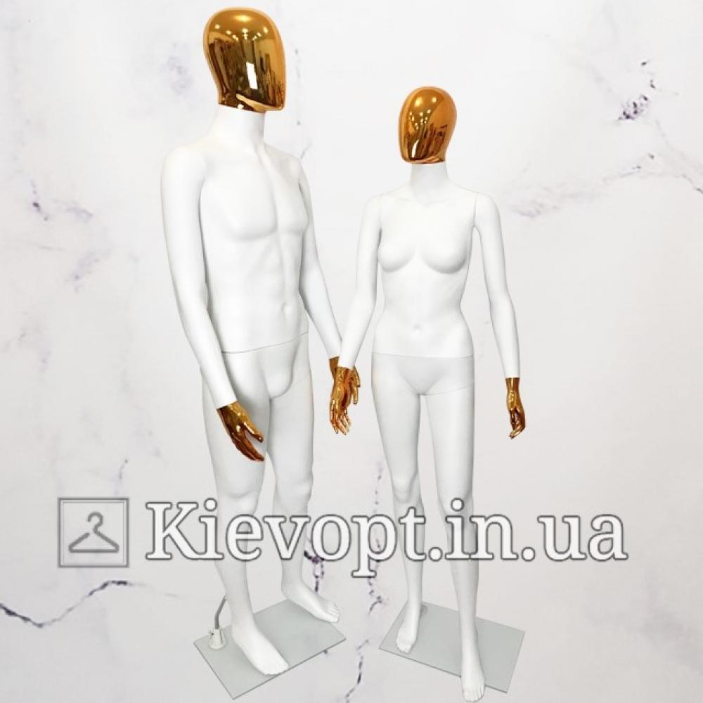 Манекен женский белый с золотой маской (101-01-07)