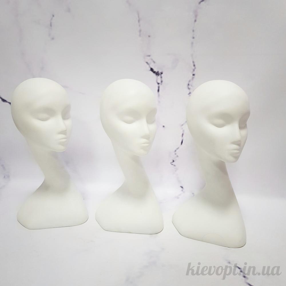 Манекен голова для шапок женская белая (106-01-01)
