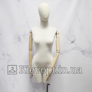 Манекен женский со светлыми деревянными руками (101-09-02)