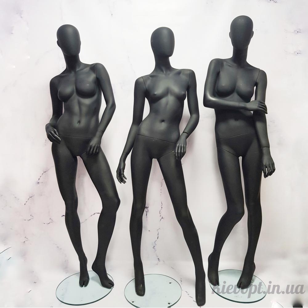 Манекен женский в полный рост гипсовый черный матовый (101-01-24)