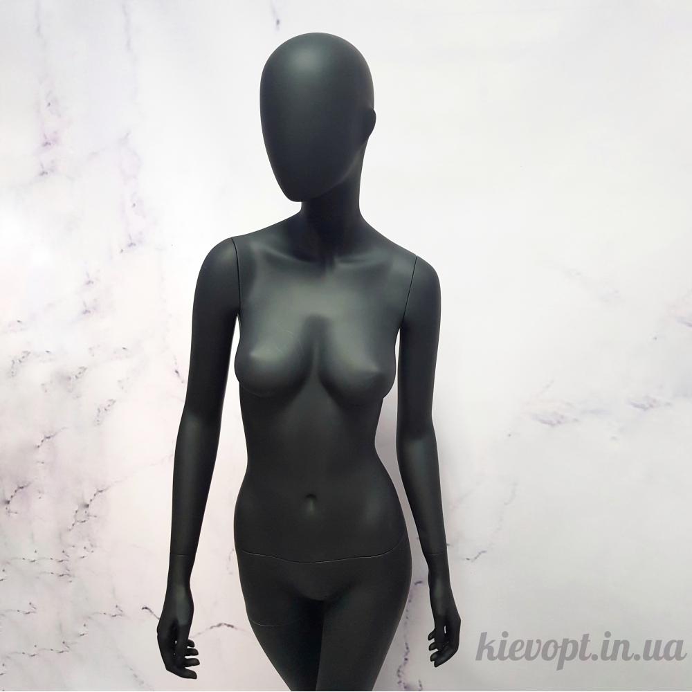 Манекен женский полноростовой гипсовый черный матовый (101-01-25)
