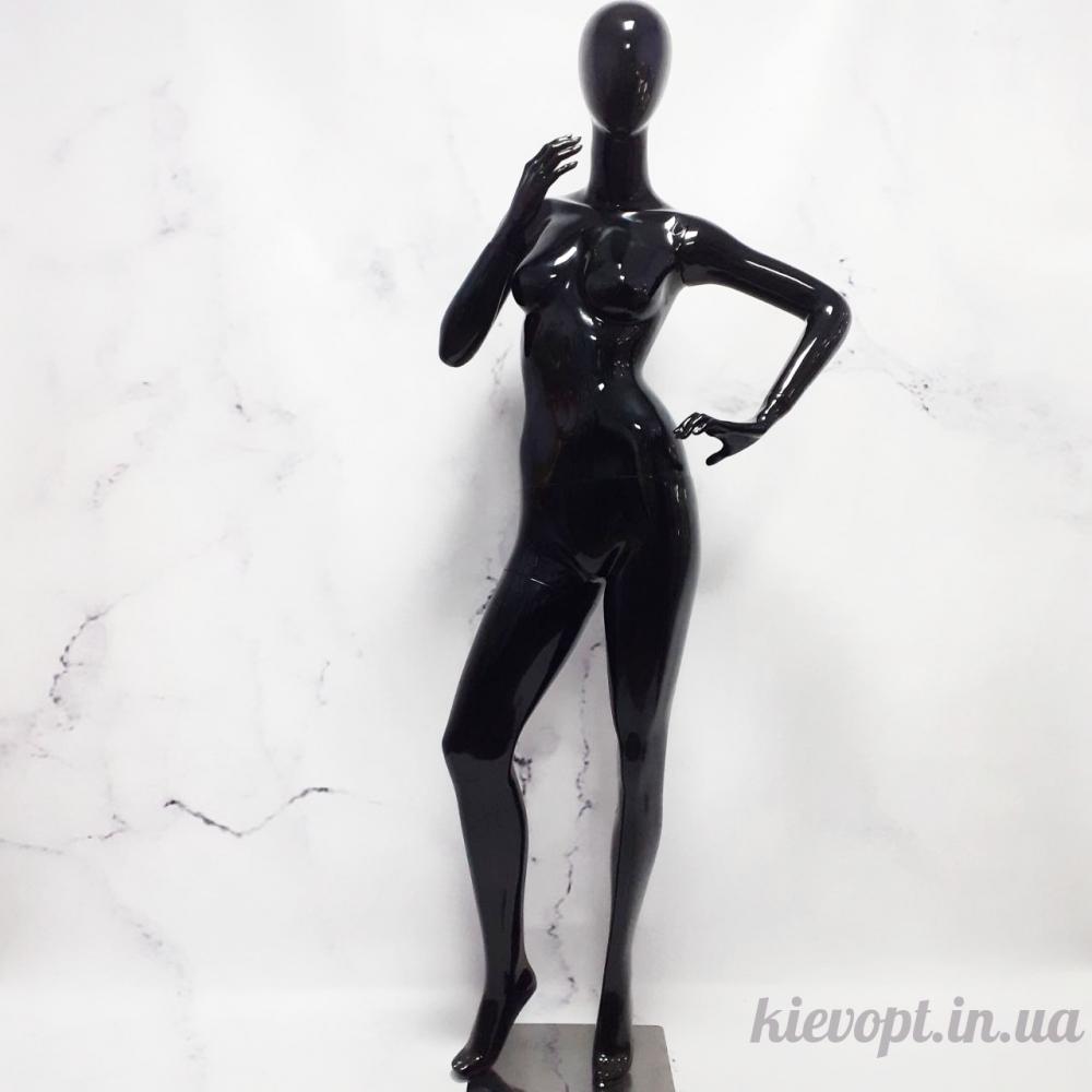 Манекен женский безликий лакированный черный (101-01-07)
