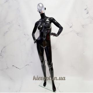 Манекен женский черный с серебрянной маской в полный рост (101-04-06)