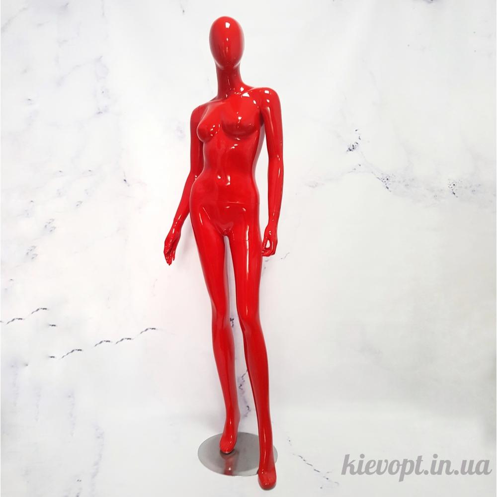 Манекен женский глянцевый в полный рост красный (101-05-07)