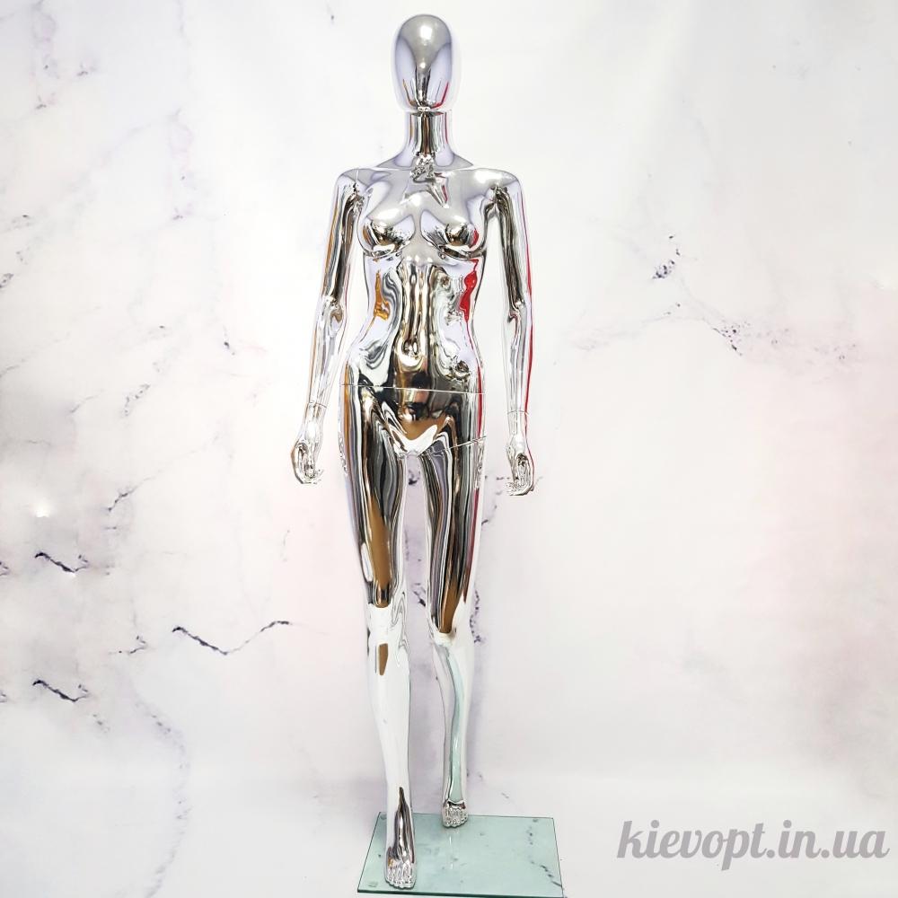 Манекен женский хромированный серебро (101-04-19)