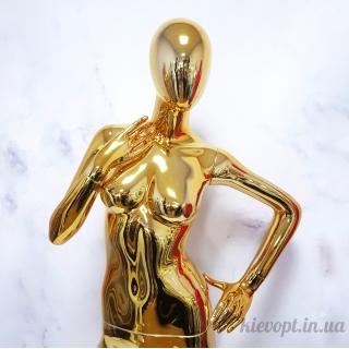 Манекен женский аватар хромированный золотой (101-04-09)