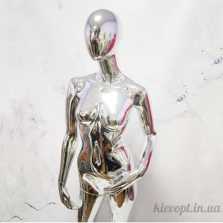 Манекен женский безликий хромированный серебро (101-04-16)