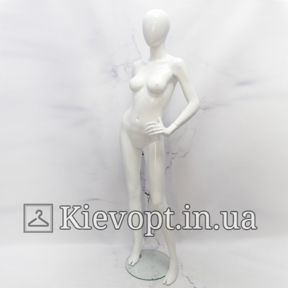 Манекен женский безликий лакированный белый (101-01-47)