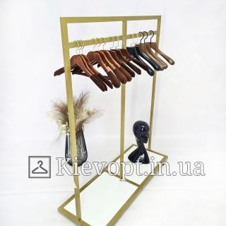 Стойка - вешалка напольная для магазина одежды золотая (800-01-22)
