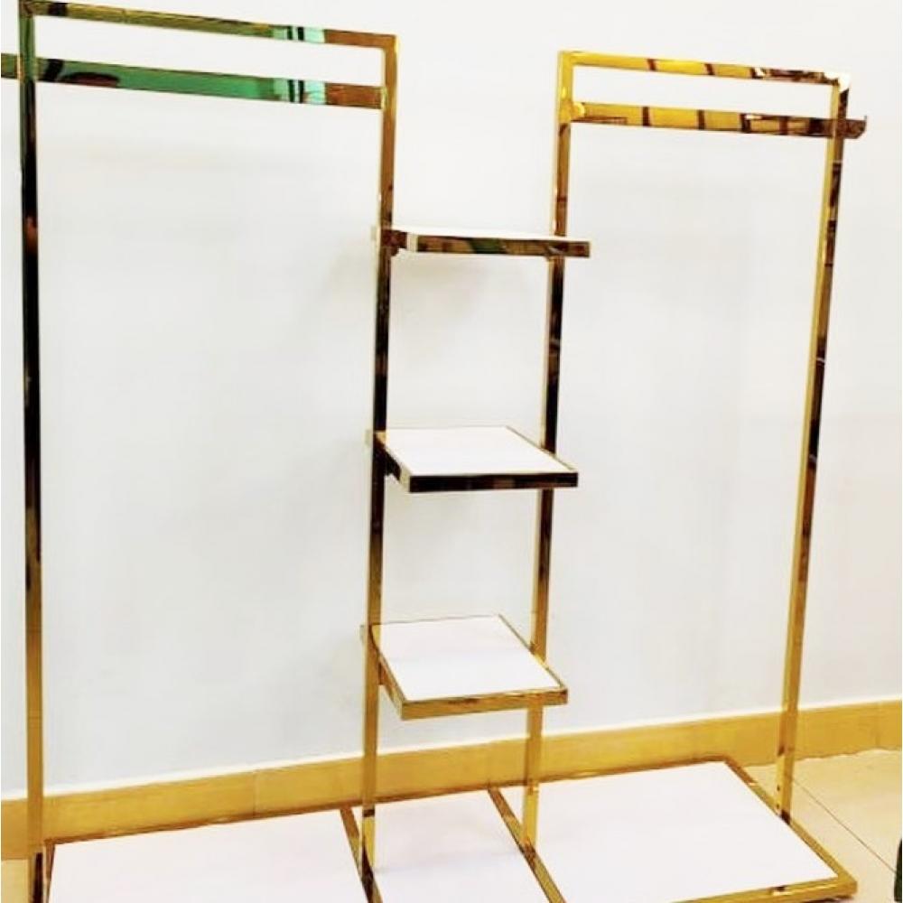 Стойка вешалка напольная для магазина одежды с полками