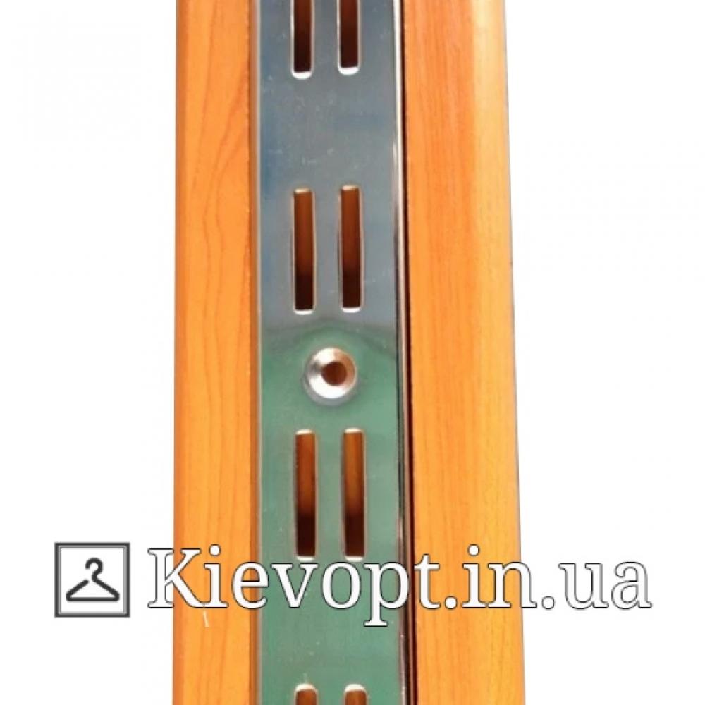 Рейка (профиль) хромированная двойная светлое дерево, 2 м
