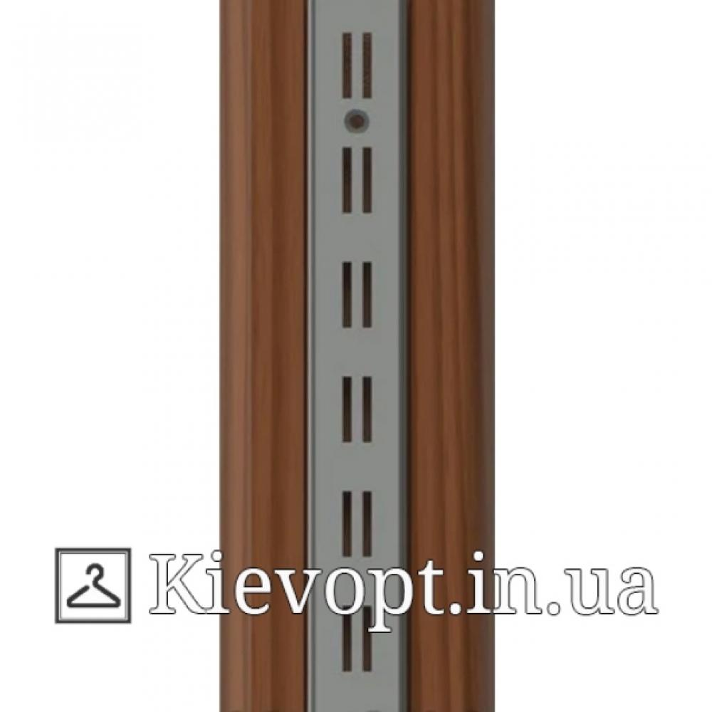 Рейка (профиль) хромированная двойная деревянная, 2 м