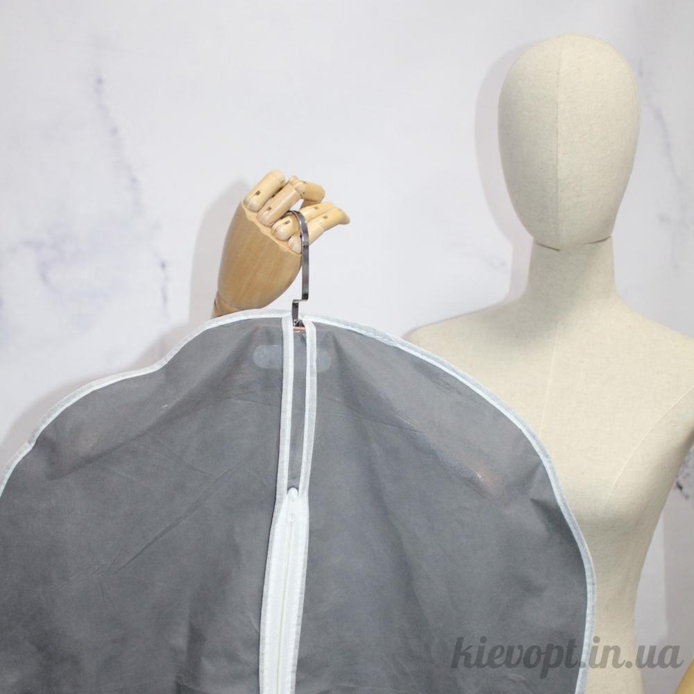 Чехол для одежды флизелиновый тканевый серый, 60х90 см