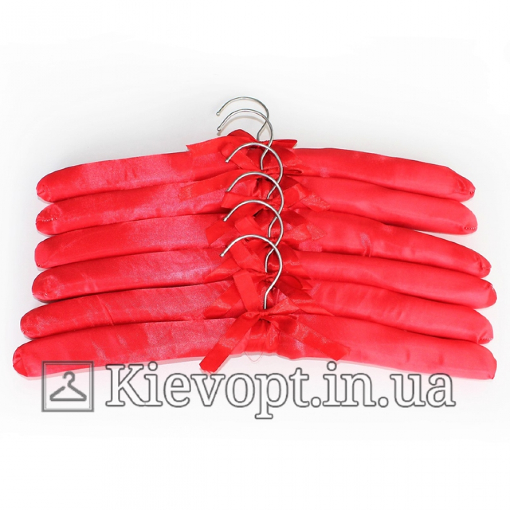 Плечики вешалки атласные для деликатных вещей красные, 38 см (08-01-07)