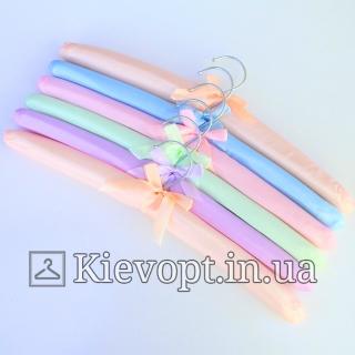 Плечики вешалки атласные для деликатных вещей разноцветные, 38 см