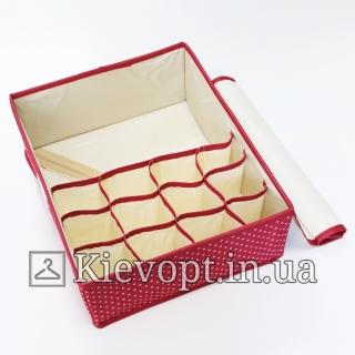 Органайзер для белья с крышкой красный в горох